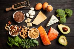 keto meal ingredients like salmon, eggs, vegetables
