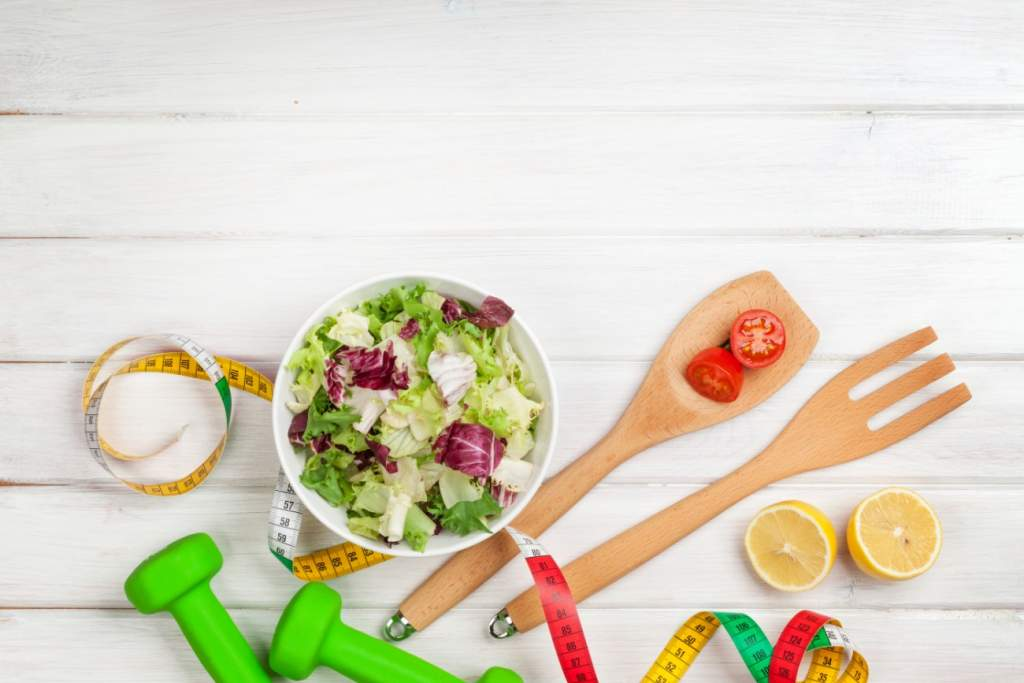 healthy food and exercise equipment